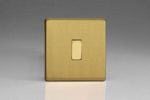 Varilight XEB1S Euro Brushed Brass 1 Gang 10A 1 or 2 Way Rocker Light Switch